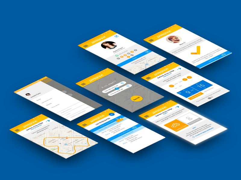 Appropa'm Concept APP screens social share mobility driver passenger map movement app