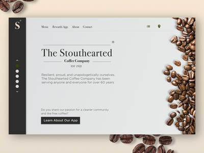 Stouthearted Coffee Company Landing Page branding coffee ux ui
