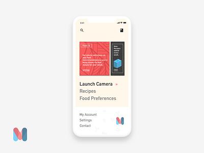 Munch AR - Main Menu playful landing interface page designer ios creative branding mobile design ux ui