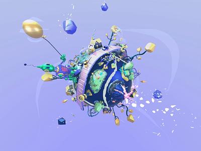 Small planet 3d illustration xr microsoftmaquette maquette madeinmaquette vrart vr game fun design ar