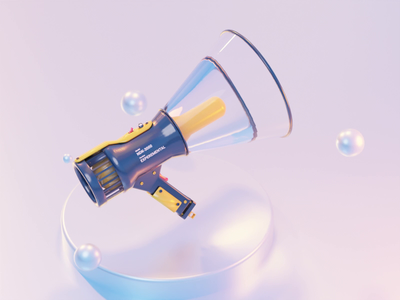 Megaphone 3d model virtualreality xr vr madeinblender 3dblender studiolighting animation megaphone 3d cycles blender