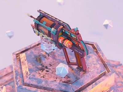 Grappling gun 3d model madeinblender 3dblender studiolighting animation grapplinggun gun 3d cycles blender