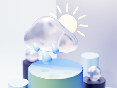 Weather 3d icon ar cycles render 3dicons 3dicon 3dmodelling 3dmodel sun cloud weather virtualreality icons xr illustration design blender ui vr 3d