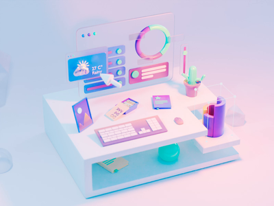 3d UI mouse keyboard 3dui infographics image book table futuristic cycles animation virtualreality ar illustration blender design ui vr 3d