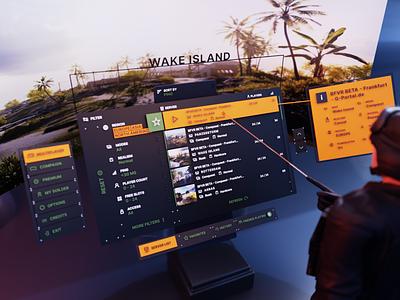 Battlefield VR Server List Concept cycles xrui vrui xrdesign vrdesign volumetricui volumetric vrdashboard dashboard table game server list shooter virtualreality ar blender design vr ui 3d