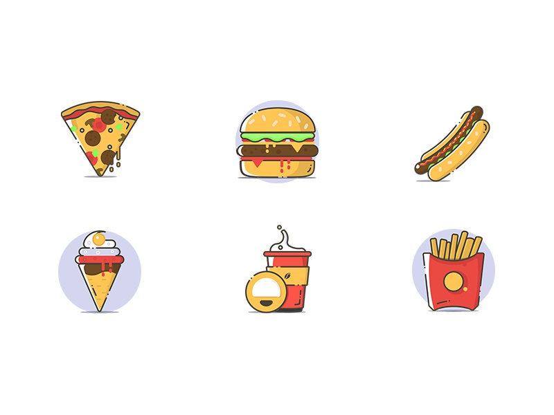 Free fast food icons french fries coffee ice cream hot dog burger pizza fast food illustrator vector icons
