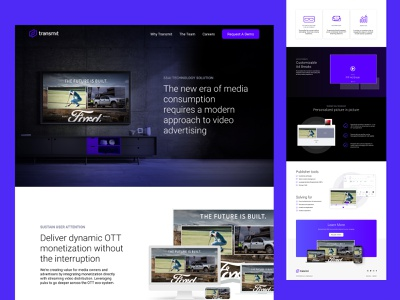 Transmit.Live Website Home Page technology ad tech uidesign ui website design website web design