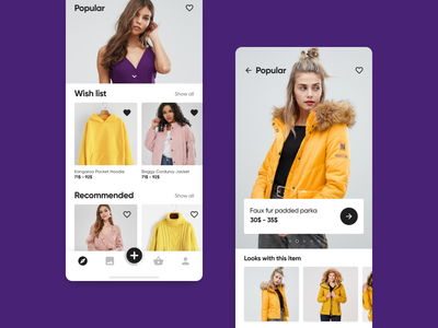 E-commerce with AI: exploration and popular screens aggregator exploration look wish list violet shopping flow cards yellow ui interaction design ai ux shopping react native mobile machine learning fashion e-commerce app