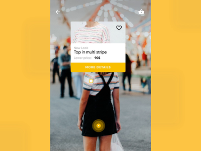 E-commerce with AI: like and explore 2019 animation scanning photo aggregation categories ui shopping flow analysis yellow interaction design ai ux shopping react native mobile machine learning fashion e-commerce