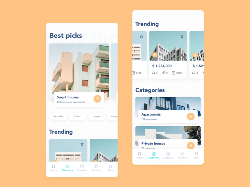 Property rent app 2019 ios 12 ios12 app design house apartment home yellow blue ar search discover ux ui design react native mobile rent property