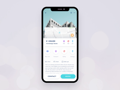 Property rent app: virtual tour rental app animation interaction yellow search ios 12 2019 house blue exploration virtual property apartment rent app ui design ux react native mobile