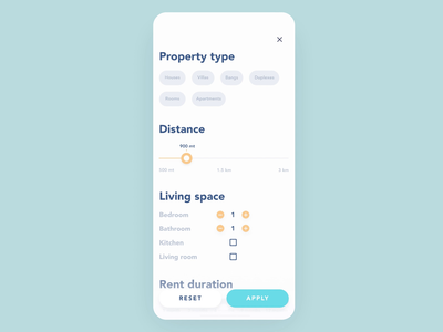 Property rent app: filters selection process property search blue settings wizard filters search ios 12 rental app rent property animation 2019 interaction app yellow ui design ux react native mobile
