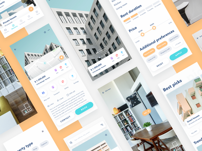 Property rent app: various screens ar elements discover ios 12 apartment house home virtual tour rent rental app 2019 interaction app yellow ui design ux react native mobile