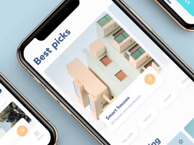 Property rent app: interactions and main exploration flow wizard search apartment animation virtual tour rent elements discover ios 12 home house rental app 2019 interaction app ui design ux react native mobile