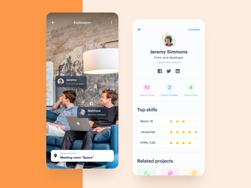 Artificial Intelligence Onboarding Assistance App 2019 future assistant exploration artificial interface office ui ux app profile onboarding space work face recognition image recognition ios12 react native mobile ai