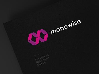 Monowise Logo typography type modern logo design logo design clean business card branding brand
