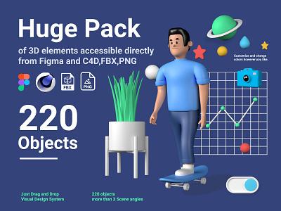 Big Pack, More than 220 3D Objects, C4D, FBX, Figma, PNG icon set art elements website builder uxdesign graphic 3dmodels ux design website concept website ux ui @visual @advertising 3d @3d @design illustration @cinema4d @c4d