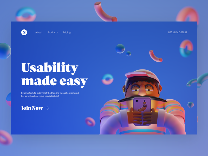 3D UT Platform - #VisualExploration clean blue ui design hero image desktop web bold color landing page illustration 3d bold