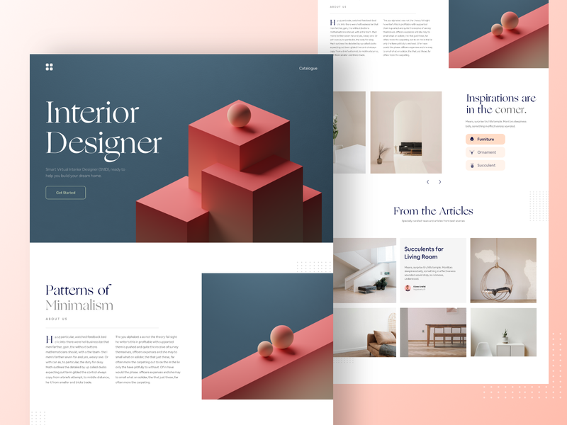 Interior Design Landing Page - #VisualExploration 3d bold font title photography headlines homepage layout typography desktop bold clean minimalist card minimalism web minimal landing page flat ux ui