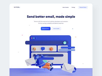 Better Email Header - #VisualExploration app bold branding fun creative desktop homepage header clean webapp email webdesign website web c4d 3d illustration landing page ux ui