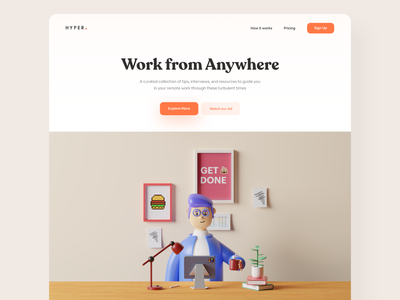 Work From Anywhere - #VisualExploration whitespace creative fun pastels c4d header homepage bold interface webdesign website clean 3d character 3d branding illustration web landing page ux ui