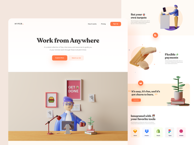Landing Page Work From Anywhere - #VisualExploration whitespace webdesign webapp website web ux ui pastels landing page illustration homepage header fun creative clean c4d branding bold 3d character 3d