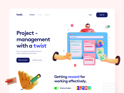 Project Management Landing - #VisualExploration hero colorful header homepage app bold clean desktop 3d illustration 3d illustration overlapping landing page dashboard ui ux web website web app website design
