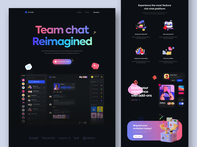 Chat App Landing - #VisualExploration desktop typogaphy hero header clean bold ux ui design ui vibrant 3d design illustration 3d illustration 3d webapp website web landingpage dark theme dark ui dark