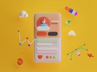 3D UI Illustration - #VisualExploration bold uiux 3d ui doodle vibrant colorful 3d modeling 3d art web card ios clean app design app ux ui illustration 3d design 3d illustration 3d