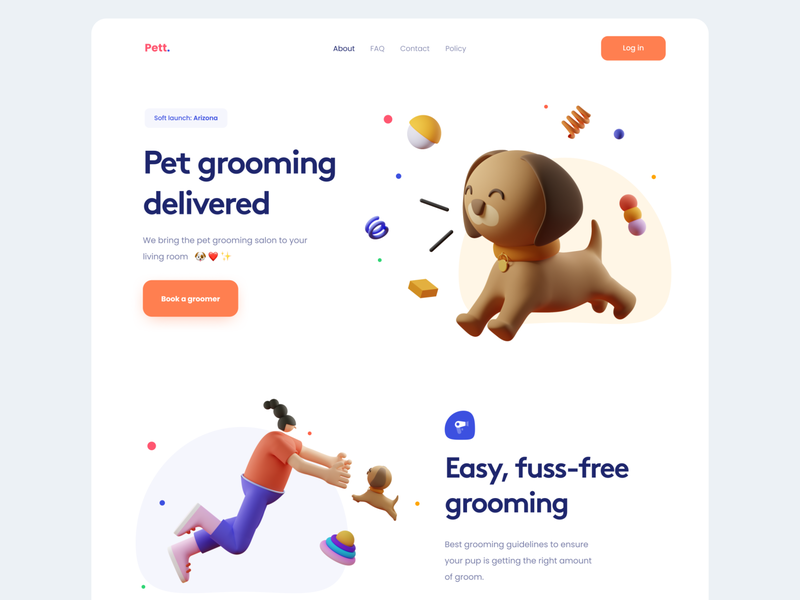 Pet Grooming on Demand Landing Hero - #VisualExploration 3d illustration 3d app bold card clean fun homepage illustration header illustration landing page ui ux web web app web design website colorful hero header