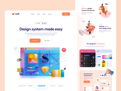 Design System Tool Landing - #VisualExploration app typography hero header color desktop creative 3d design minimal website web ux ui landing page ui design illustration homepage clean bold 3d illustration 3d