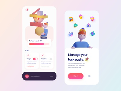 Task Management App - #VisualExploration ux design typography creative minimal gradient colors vibrant onboarding ui design ux ui ios 3d design 3d illustration 3d illustration clean card bold app