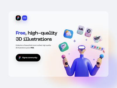 FREE 3D ILLUSTRATION PACK - SALY website freebies freebie figma free web ux design ui design ux ui minimal landing page hero header gradient clean blur illustration 3d illustration 3d design 3d