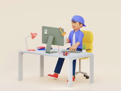 3D Illustration WFH Character cute render blender 3d fun vibrant colorful freelancer wfh branding character clay render illustration 3d illustration 3d art blender3d 3d cinema4d c4d blender b3d
