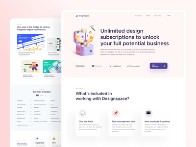 Design Service Subscription Landing Page - Designspace creative bold branding product design web design homepage website cms 3d illustration 3d design 3d card clean app flat web illustration landing page ux ui