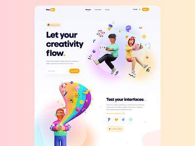 Flow App Landing - #VisualExploration bold web design clean vibrant colorful desktop header homepage gradient web app website hero 3d illustration 3d ux ui web illustration landing page frosted glass