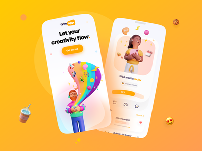 Flow App Mobile - #VisualExploration app ui mobile app design minimal 3d art mobile ui interface application mobile app app design vibrant bold colorful clean illustration ui 3d illustration 3d app ios mobile