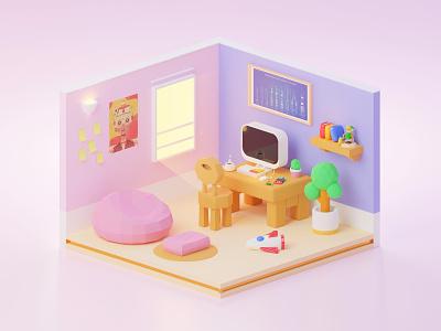 Morning Vibes ⛅ - #3DExploration 3d design web design app design app web minimal room playful colorful vibrant landing page cinema4d c4d blender ux ui illustration 3d art 3d illustration 3d