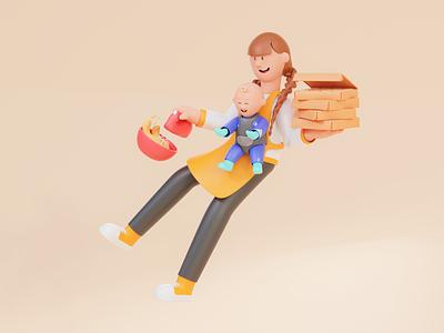 Opaper Illustration✨ - #3DIllustration 3d character colorful bold web design website app design web landing page character design branding app ux ui cinnema4d c4d blender 3d illustration 3d illustration 3d design