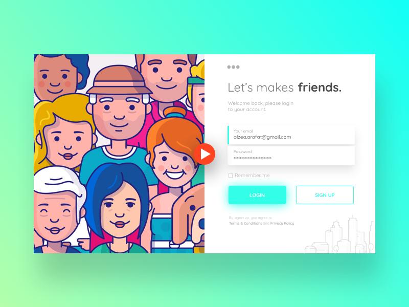 Let's makes friends. Login page.