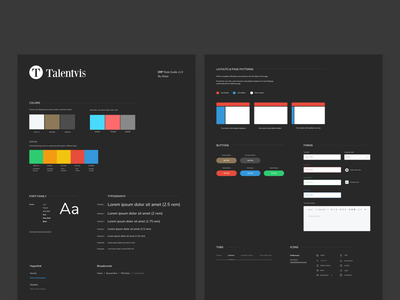 Talentvis Style Guide flat design user experience user interface ux ui ux design ui design style sheet style guide