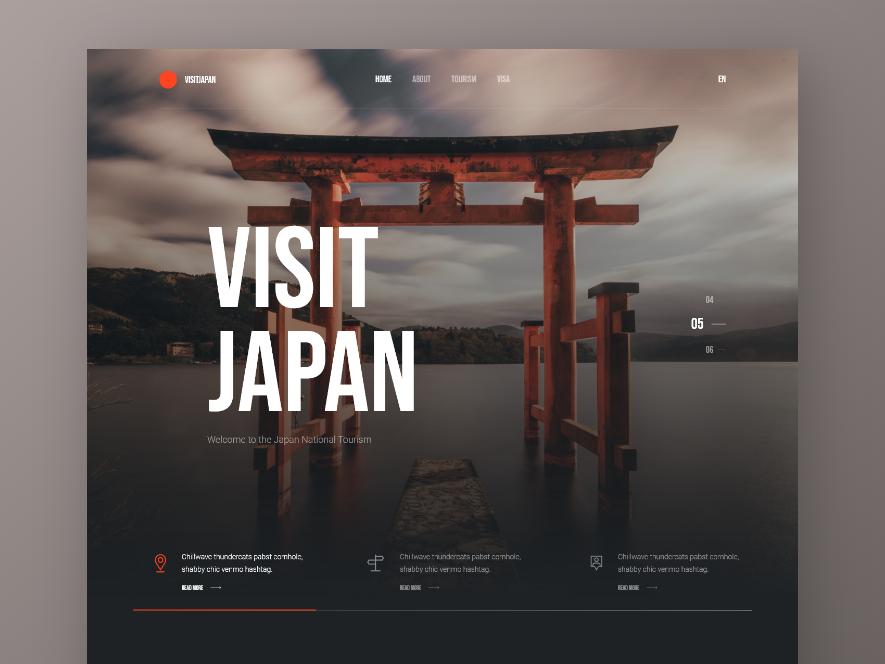 Visit Japan photography black dark japan typography landing page