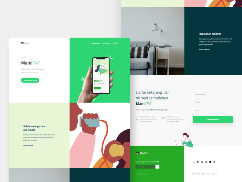 MamiPAY Landing Concept creative design minimalism ux ui flat typography web minimal landing page