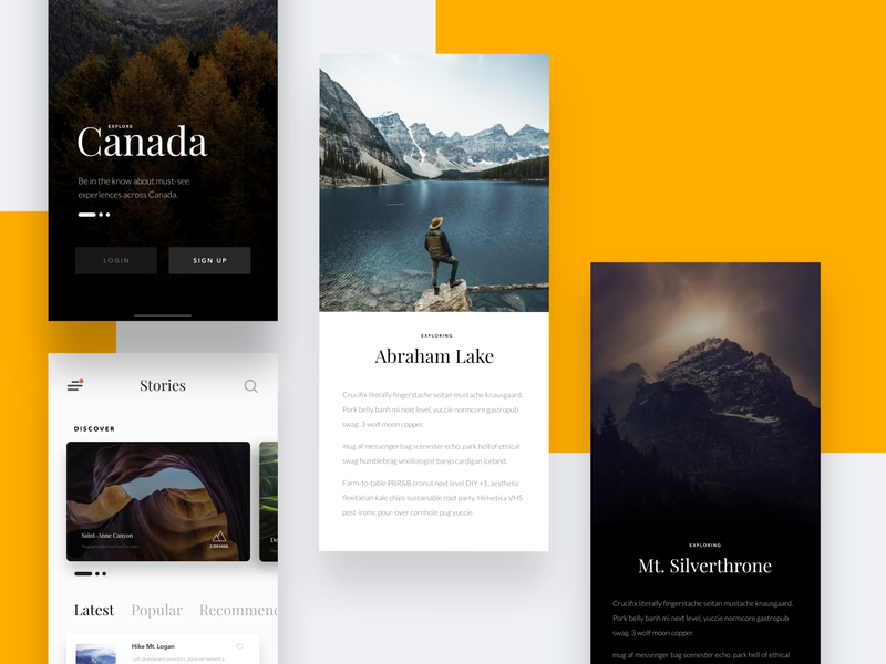 #VisualExploration - Explore Canada android clean app traveling travelling card minimalism app photography clean ios ui typography app design minimal