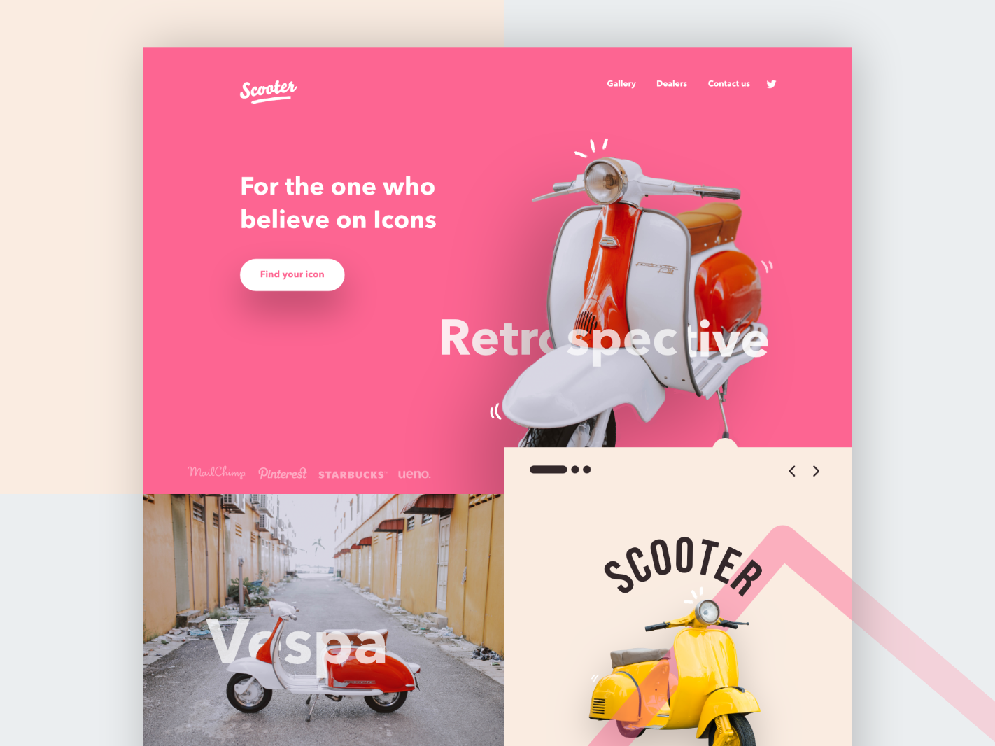 #VisualExploration - Scooter! flat brutalism ui photograhy minimalism clean colors vespa pastel color pastel typography web minimal landing page