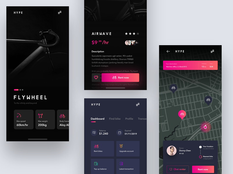 Bike Rent App - #VisualExploration map minimalist minimalism card app ios minimal gradient rent app black dark app design ux ui