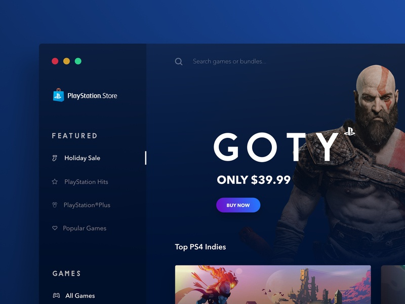 Playstation Store Desktop Concept - #VisualExploration fluent design desktop playstation game art game app blue dark black gradient apple macosx mac app store mac app app ios landing page ux ui