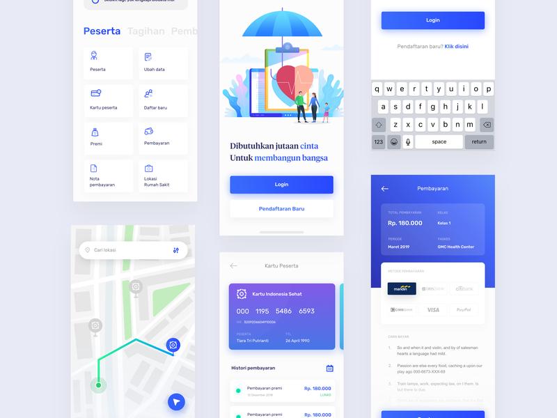 BPJS App Redesign - Visual Exploration flat card gradient app ux ui ios illustration app design