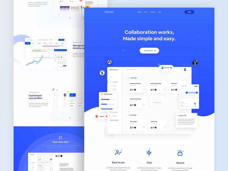 Collaboration Works - Landing Page dashboard gradient startup tech blue web minimal landing page flat ux ui