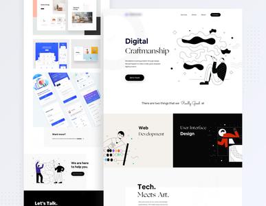 Design Studio Landing Concept minimalist creative ui desktop web clean design clean minimalism flat minimal illustration landing page
